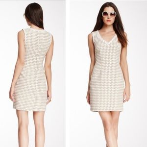 Trina Turk white/tan houndstooth dress